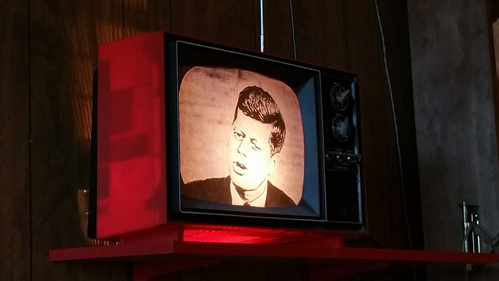 Ask not what Birmingham can do for you, but what you can do for Birmingham. JFK on the TV in the Atomic Lounge