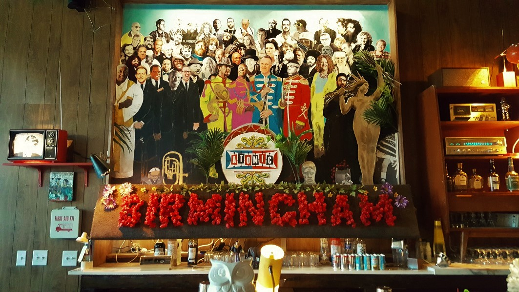 How many Birmingham Stars can you name in the Sgt. Pepper wall art at the Atomic Lounge?
