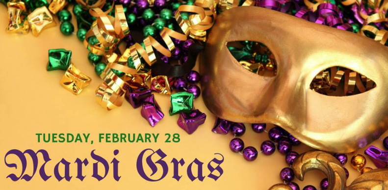 Cantina Grill Mardi Gras Mask and Beads