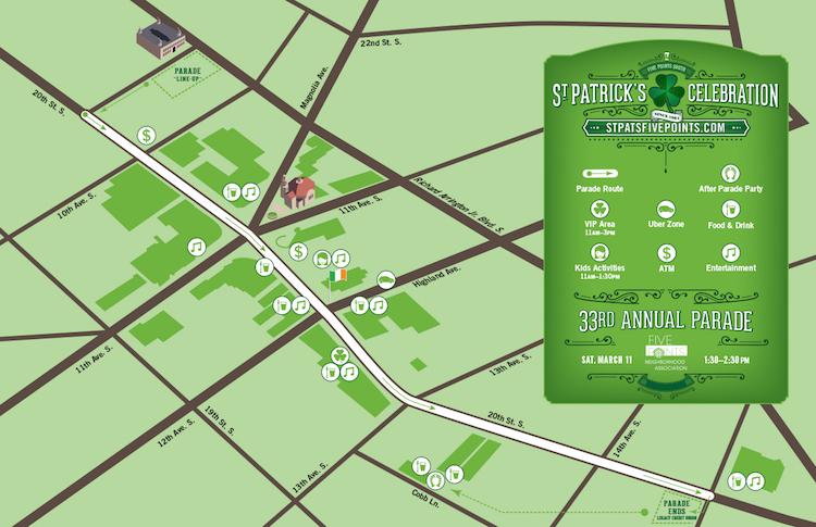 Birmingham St. Patrick's Day Parade Map from fivepointsbham.com
