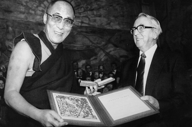 The Dalai Lama Receives Nobel Peace Price Credit: dalailama80.org