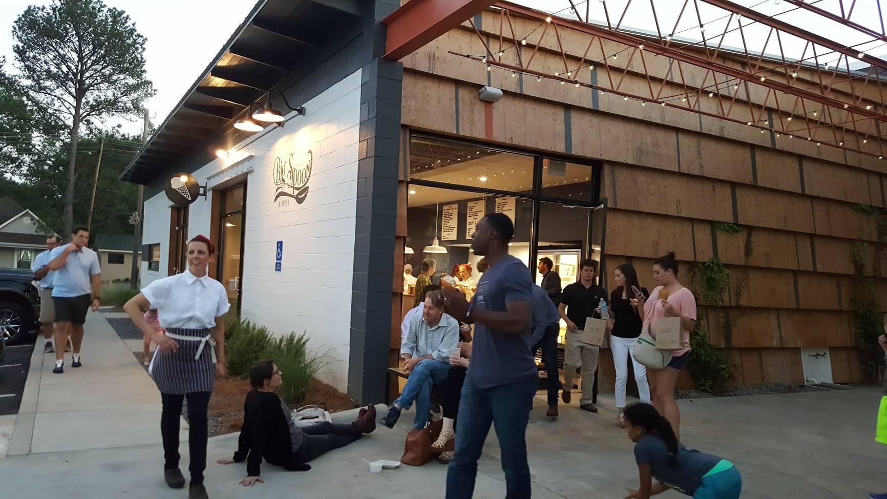 People Enjoying Big Spoon Creamery Ice Cream Outsite