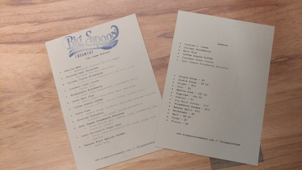 Big Spoon Creamery Menu