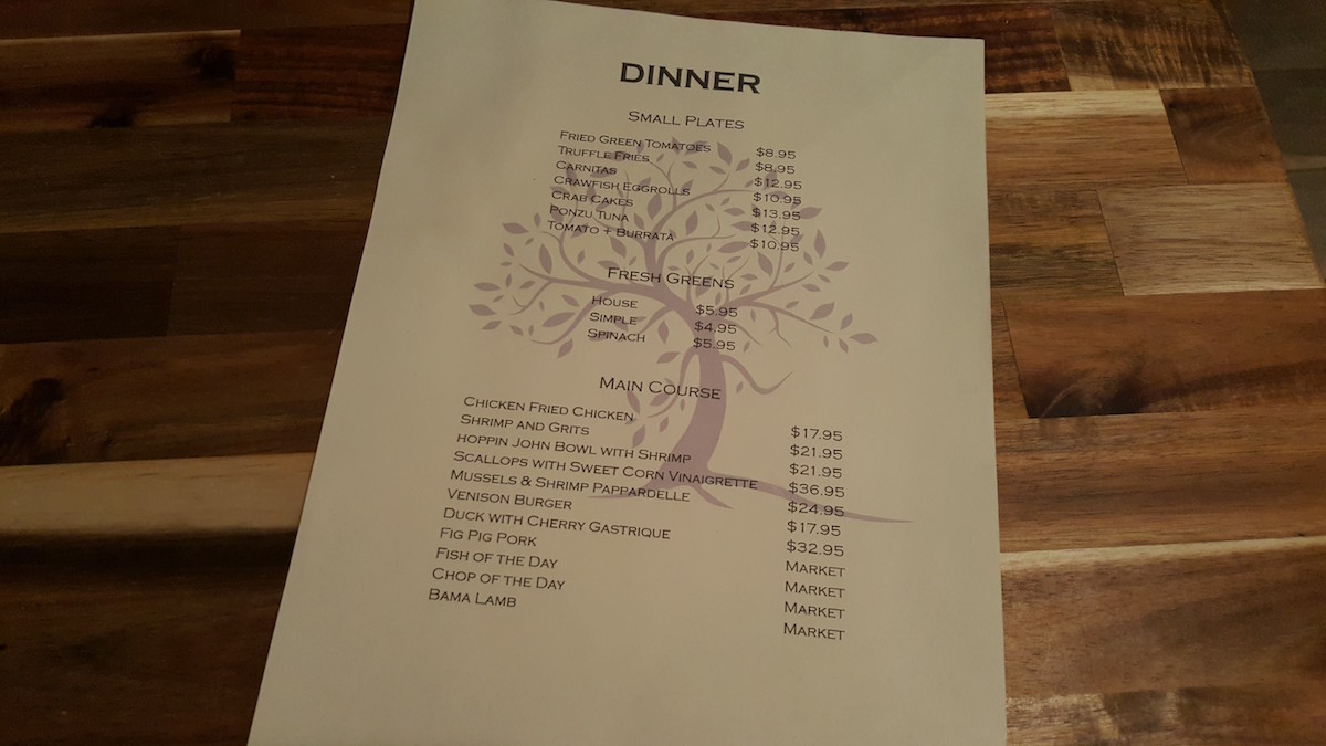 The Fig Tree Cafe Dinner Menu