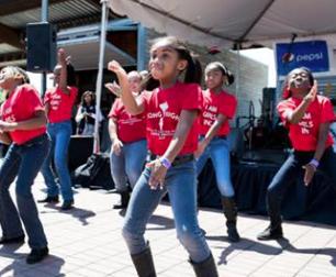 Girls Dance in Street