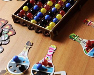 Board Games on Wooden Table