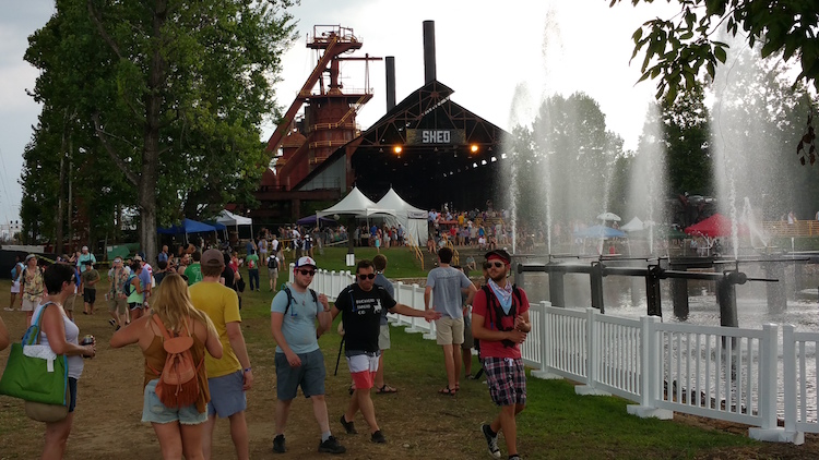 Sloss Festival Shed Stage and Fountain