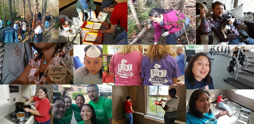 Collage of us volunteering in Birmingham