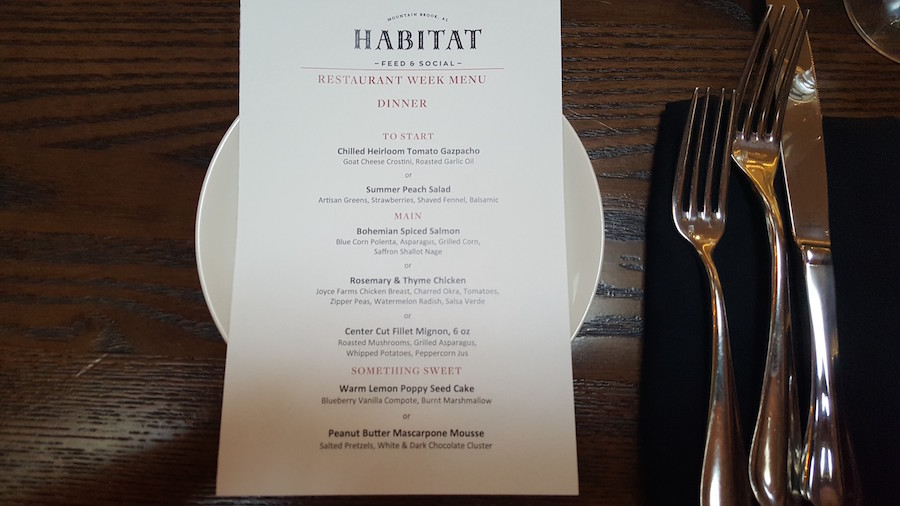 BRW2017 Prix-fixe Menu for Habitat Feed & Social