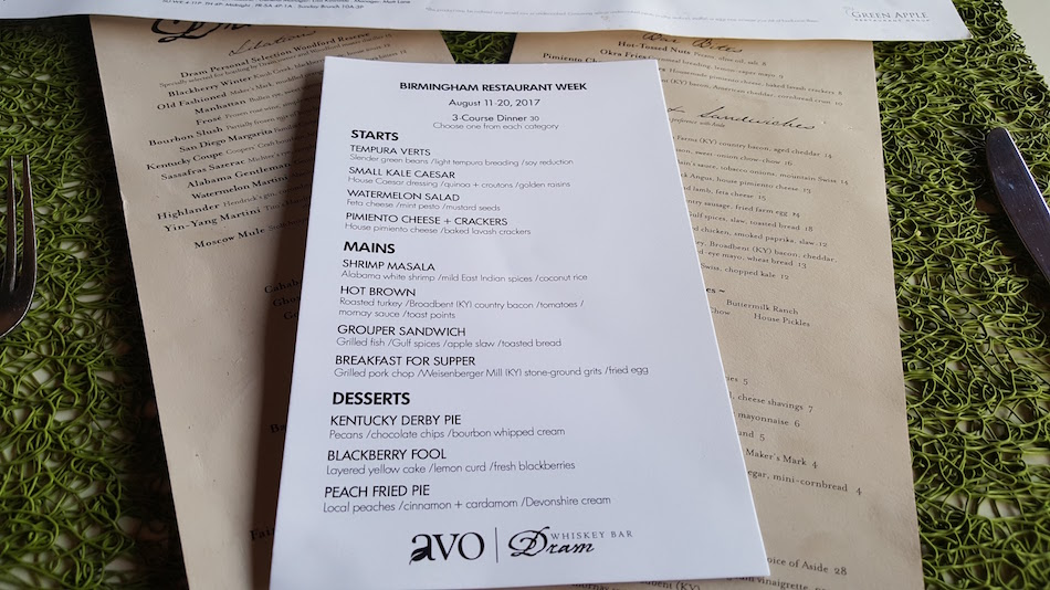 Avo Birmingham Restaurant Week 2017 Menu