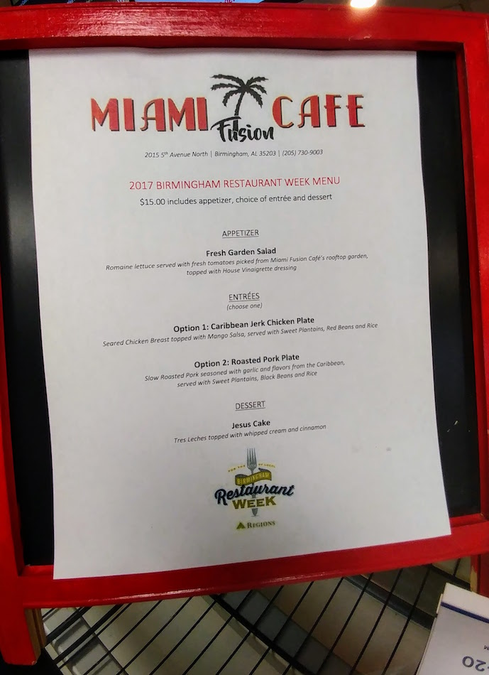 Miami Fusion Cafe Menu for Birmingham Restaurant Week 2017