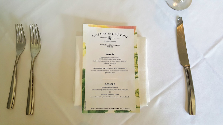 Birmingham Restaurant Week Menu for Galley and Garden