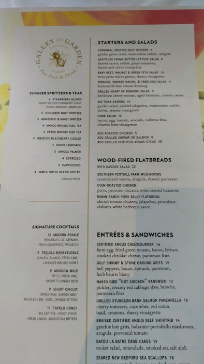 Regular Lunch Menu at Galley and Garden Birmingham