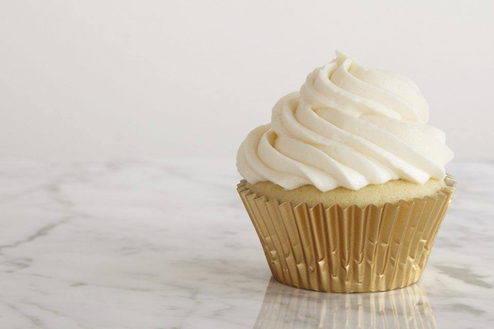White Cupcake with Gold Wrapper