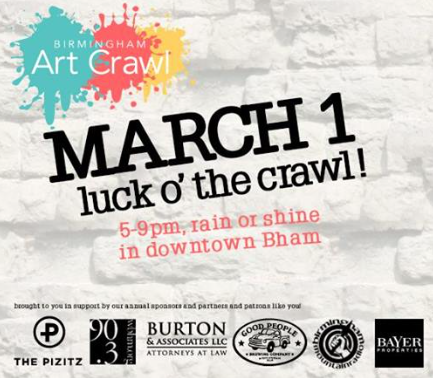 Art Crawl Birmingham March Luck o the Crawl