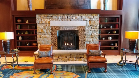 Lobby Fireplace at Ross Bridge Resort