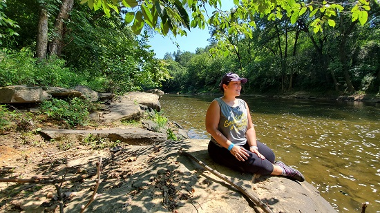 Amber on the bank of the Locust Fork River at Case Rock