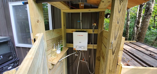 Shower at Case Rock Cabin