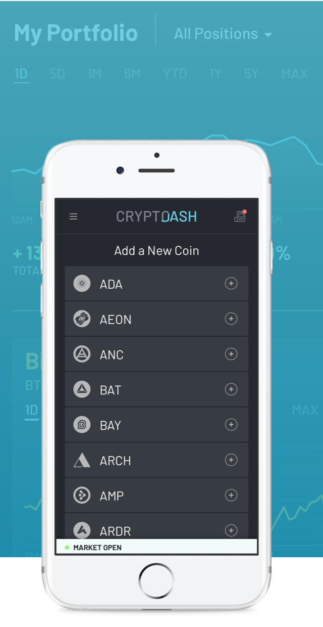 CryptoDash Mobile Coin Picker