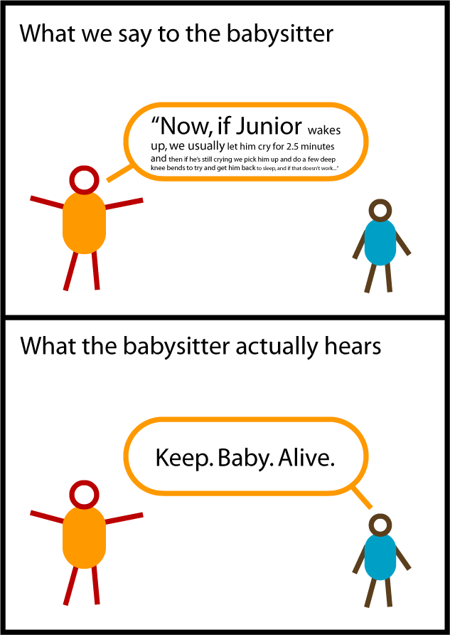 Cartoon: What the Babysitter Hears