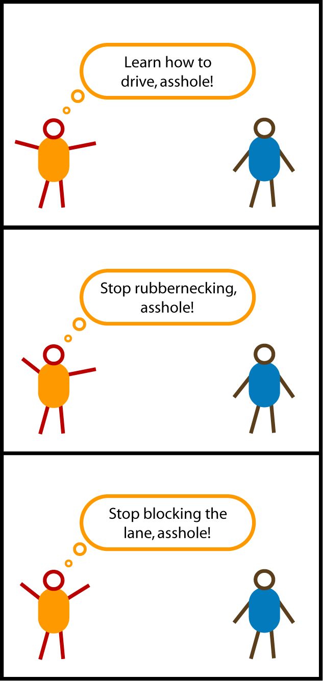 "Hi blind people. This is a cartoon called What New Yorkers Are Thinking When They Walk Fast. In the first panel, the New Yorker is thinking, ""Learn how to drive, asshole!"". In the second panel, he's thinking: ""Stop rubbernecking, asshole!"". In the third panel, he's thinking: ""Stop blocking the lane, asshole!"""
