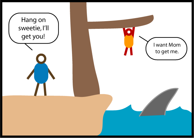 "A child is hanging tenuously from a tree branch, in danger of falling into some water where a shark is lurking. Adult: ""Hang on sweetie, I'll get you!"" Child: ""I want Mom to get me."""