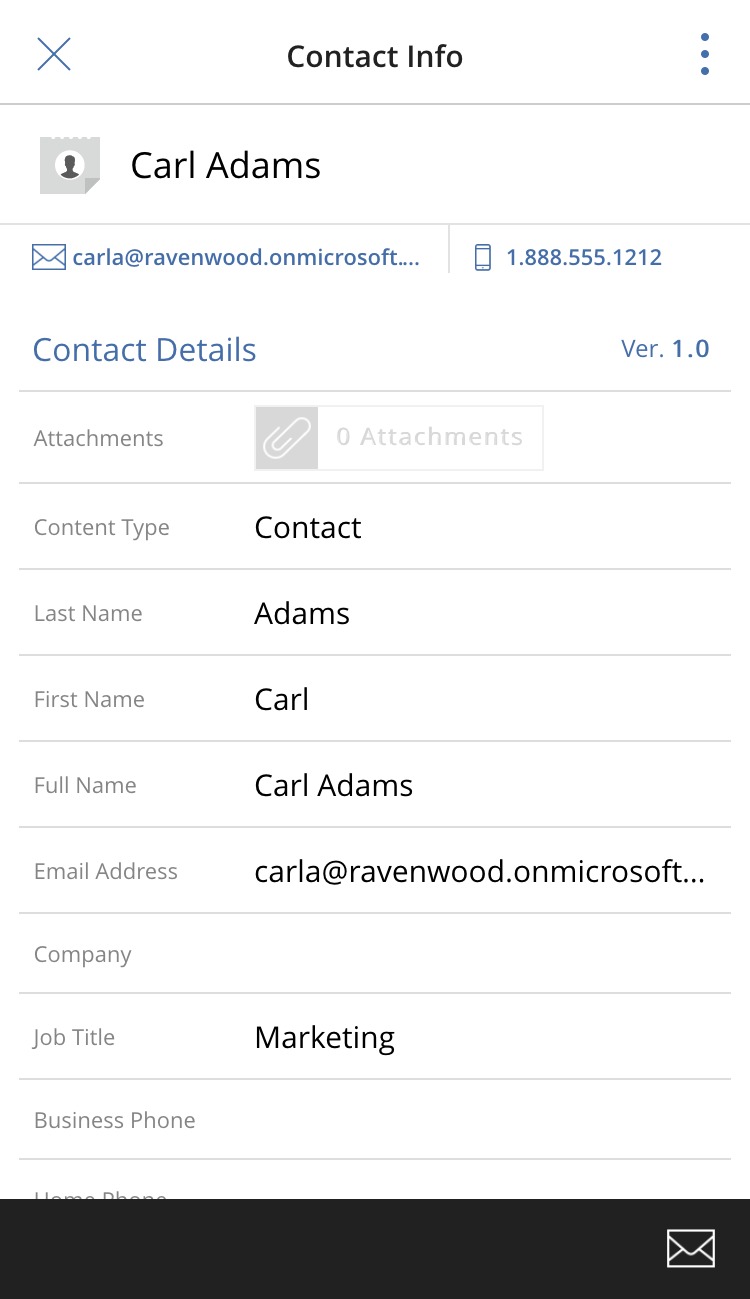 Contact information and commands