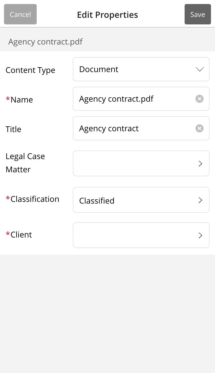 Editing document properties