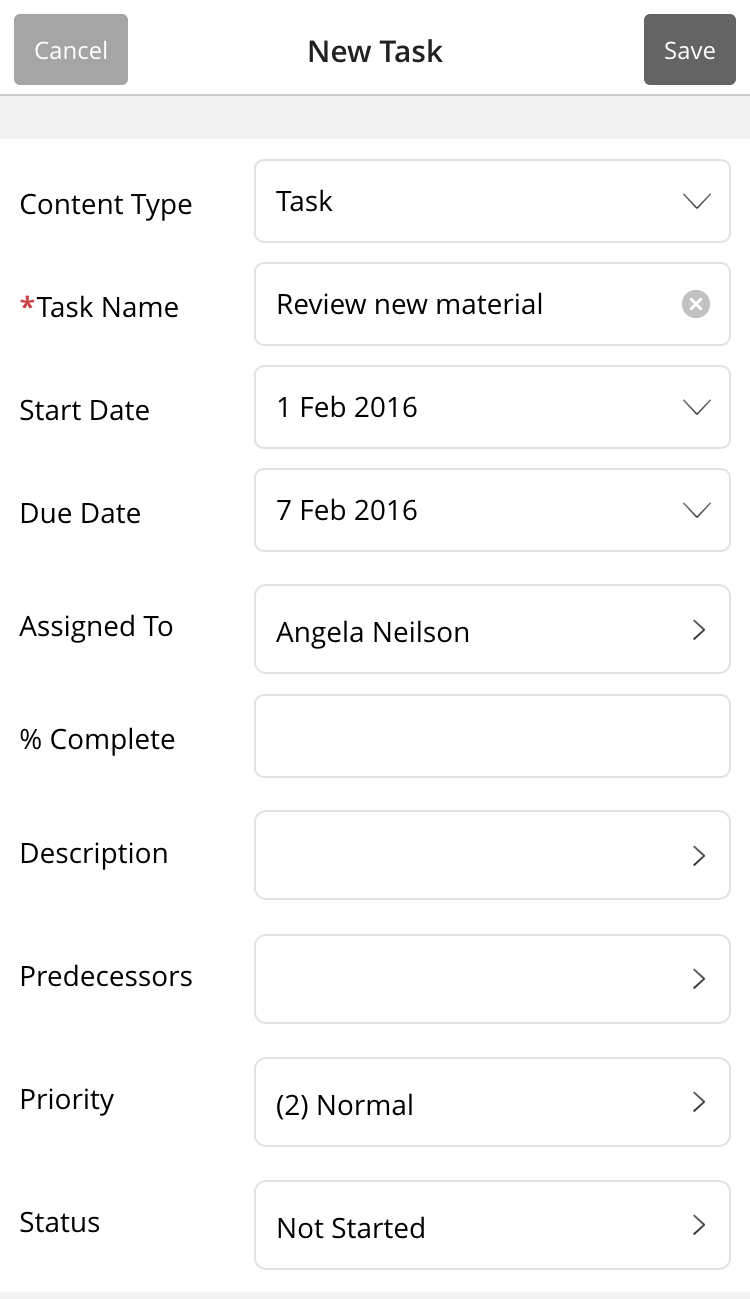 Create a new list item