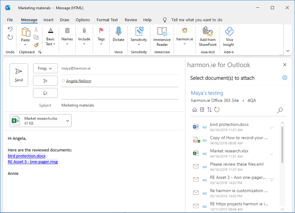 Add SharePoint link to email