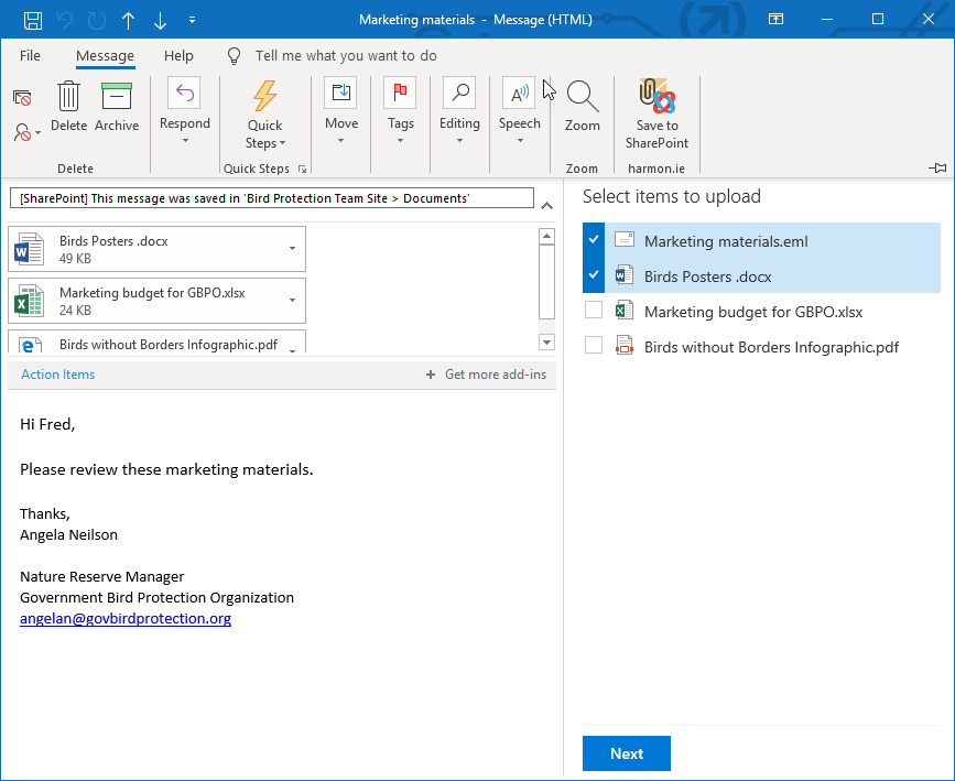 Save message and/or attachments to SharePoint