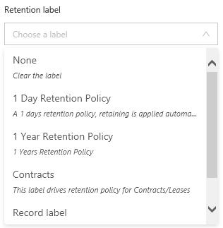 Set retention label
