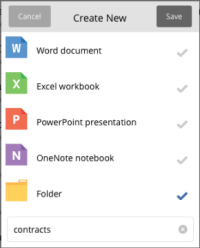 Create new document or folder