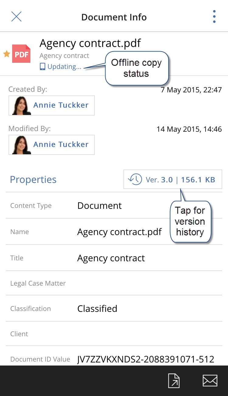 The Document Info pane