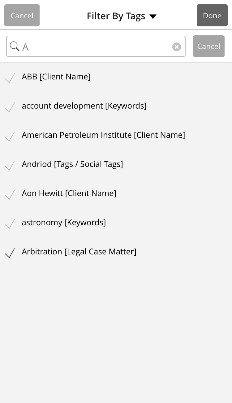Filter by Tags List