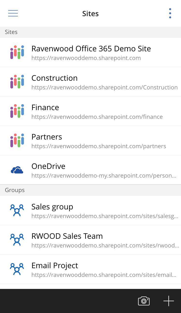 Office 365 groups in the Sites view