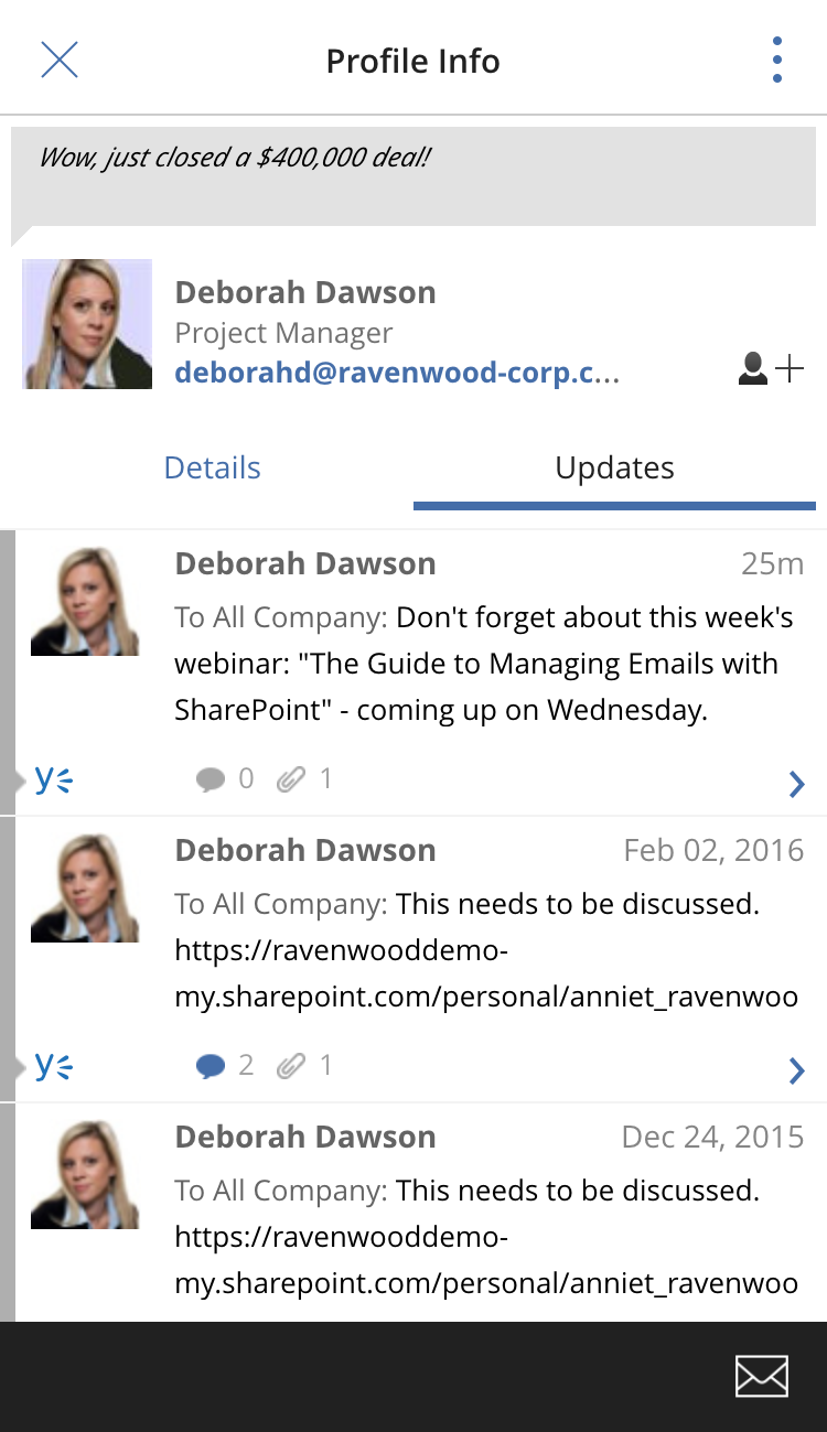 The harmon.ie updates view