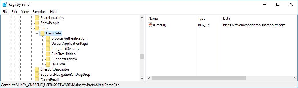registry keys for configuring a SharePoint site