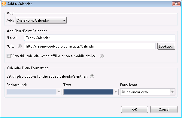 Use the Add a Calendar dialog to configure a new SharePoint calendar.