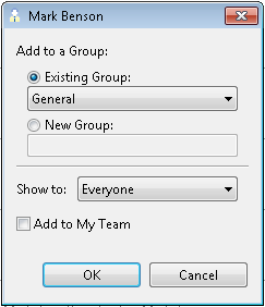 The Add/Edit Colleague dialog allows you to add a person as a colleague, and to set his group and security settings.