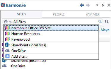 The sites menu includes your personal SharePoint site.