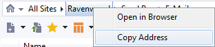 The breadcrumbs context menu lets you copy the address of the current location or open it in a web browser.