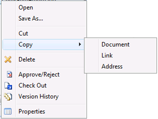 You can use standard clipboard operations to move and copy documents between locations on SharePoint, Notes and your computer.