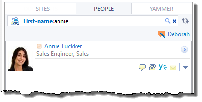 Searching for people that their first name contains 'Annie'.