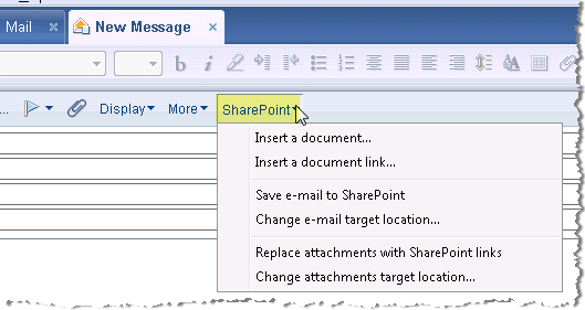 harmon.ie SharePoint button in IBM Notes.