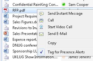 Instant messaging context menu