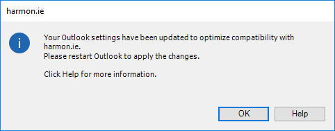harmon.ie updates your Outlook settings to optimize compatibility