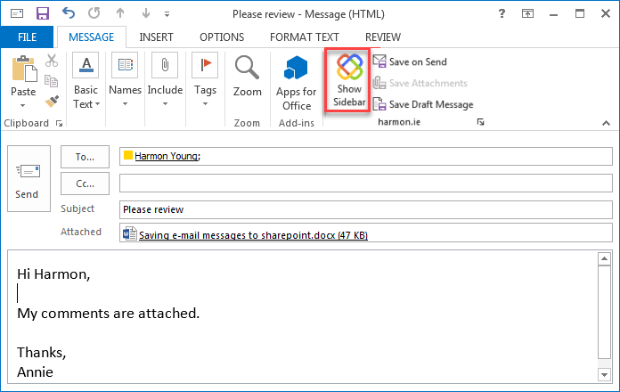 harmon.ie ribbon button in Microsoft Outlook.