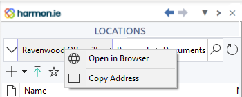 You can open a SharePoint site or document library in the web browser from the breadcrumbs context menu.