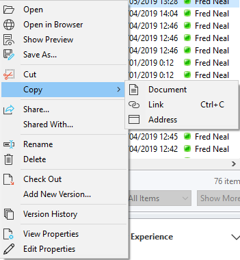 You can use standard clipboard operations to move and copy documents between locations on SharePoint, Outlook and your computer.